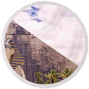 Sphinx Clouds Round Beach Towel