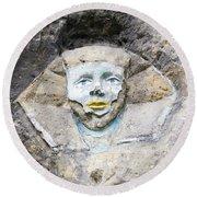 Sphinx - Rock Sculpture Round Beach Towel
