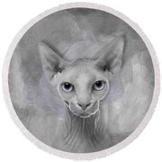 Sphynx No 19 Round Beach Towel