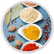 Spices On Blue   Round Beach Towel
