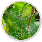 Spider Web Artwork Round Beach Towel