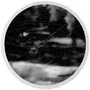 Spider Web Black White Round Beach Towel