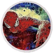 Spiderman Climbing  Round Beach Towel