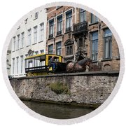 Spieglerei Canal In Bruges Belgium Round Beach Towel