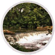 Spillway Early Morning Round Beach Towel
