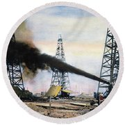 Spindletop Oil Pool, C1906 Round Beach Towel