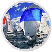 Spinnakers And Sails By Kaye Menner Round Beach Towel