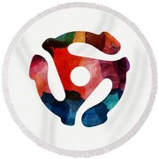Spinning 45- Art By Linda Woods Round Beach Towel
