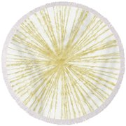 Spinning Gold- Art By Linda Woods Round Beach Towel