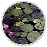 Spinning Lilies Round Beach Towel