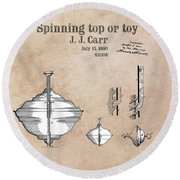 Spinning Top Or Toy Patent Art Round Beach Towel
