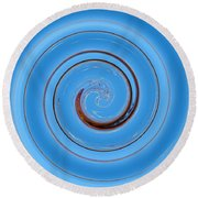 Have A Closer Look. Spiral Art With Light And Dark Blue Embossing Effect.  Round Beach Towel