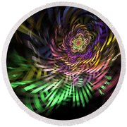 Spiral Rainbow Round Beach Towel