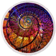 Spiral Spacial Abstract Square Round Beach Towel