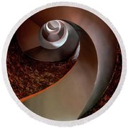 Spiral  Staircase In An Old Lighthouse Round Beach Towel