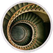 Spiral Staircase  In Green And Yellow Round Beach Towel