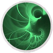 Spiral Thoughts Green Round Beach Towel