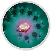 Spiral To A Rose Fractal 140 Round Beach Towel