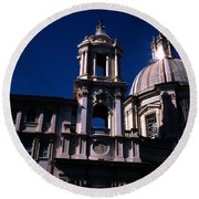Spire And Cupola St Agnese In Agone Piazza Navona Rome Italy Round Beach Towel