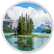 Spirit Island, Jasper National Park Round Beach Towel