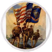 Spirit Of 1917 - Join The Us Marines  Round Beach Towel by War Is Hell Store