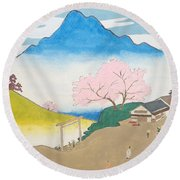 Spirit Of Shinto And Ukiyo-e In The Light Of Nature Round Beach Towel
