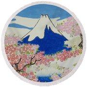 Spirit Of Ukiyo-e Illuminated By Stunning Nature Round Beach Towel