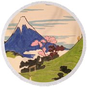 Spirit Of Ukiyo-e In The Light Of Shinto Round Beach Towel