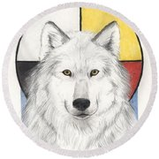 Spirit Wolf Round Beach Towel
