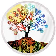 Spiritual Art - Tree Of Life Round Beach Towel by Sharon Cummings
