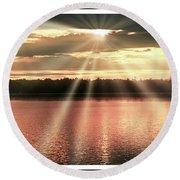 Spiritual Sunset Above A Mountain Lake Round Beach Towel