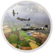 Spitfire Sweep Colour Version Round Beach Towel