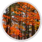 Splashes Of Autumn Round Beach Towel