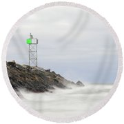 Splashing Jetty Waves Round Beach Towel