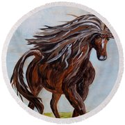 Splashing The Light - A Young Horse Round Beach Towel