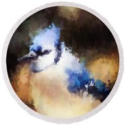 Splatter Art - Blue Jay Round Beach Towel