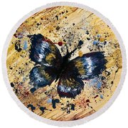 Splatter Butterfly Round Beach Towel