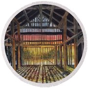 Splendor In The Barn Round Beach Towel