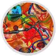 Splendor In The Glass Round Beach Towel