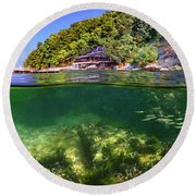 Split Level Reef And Trees With Pier Round Beach Towel