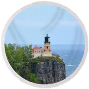 Split Rock Beacon Round Beach Towel