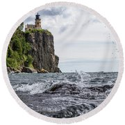 Splitrock Lighthouse 8-4-17 Round Beach Towel
