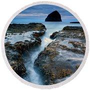 Splitting Stone Round Beach Towel by Mike  Dawson