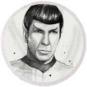 Spock Watercolor Portrait Round Beach Towel