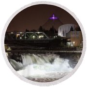 Spokane Falls Night Scene Round Beach Towel by Carol Groenen