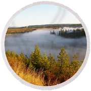 Spokane River Under A Misty Morning Blanket Round Beach Towel