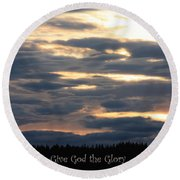 Spokane Sunset - Give God The Glory Round Beach Towel