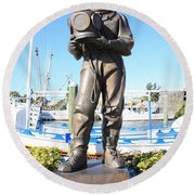 Sponge Diver Memorial Round Beach Towel