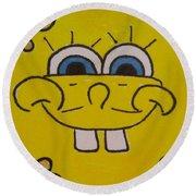 Sponge Square Yellow Brown Pants Cartoon Round Beach Towel
