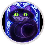 Spooky Cat Round Beach Towel